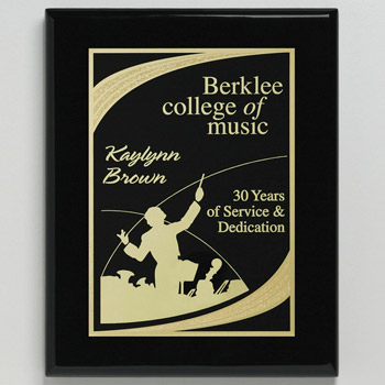 "Aberdeen Black Plaque 12"" x 15"" with Lasered Plate"