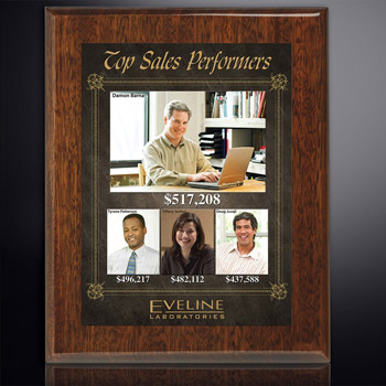 "Aberdeen Walnut Plaque 9"" x 12"" with Sublimated Plate"