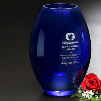Cobalt Barrel Vase 10-1/2""