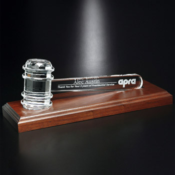 "Crystal Gavel on Royal Finish Base 11-1/2"" W"