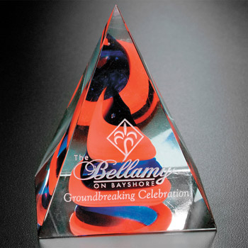 Swirl Pyramid - Red/Blue 4""